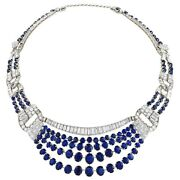 925 Sterling Silver Necklace Blue Oval Round Cocktail Party Collar