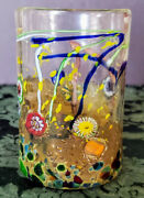 Murano Glass Tumbler - Copper And Gold Quilt Millefiori Style Hand Made-signed