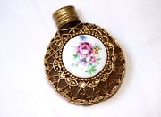 Antique Small Gold Metal Cased Porcelain Floral Scent Chatelaine Perfume Bottle