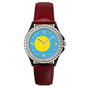 Republic Of Palau Country Flag Ladies Cubic Zirconia Leather Wrist Watch Sg173