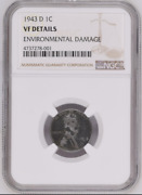 1943-d 1c Steel Lincoln Wheat - Ngc Vf Details Error