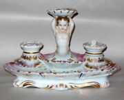 Rare Antique French Old Paris Porcelain Inkwell Cherub Putto Mermaid Shell