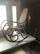 Actual Signed Thonet Poland Bentwood And Woven Cane Rocking Chair Rocker Mcm