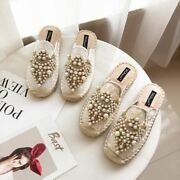 1 Pair Women Spring Espadrilles Cane Straw Mules Shoes Loafers Lazy Flat Shoes L