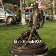 Western Art Deco Pure Bronze Marble Man Soldiers Be On Duty Patrol Dog Sculpture
