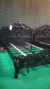 5and039 King Size Mahogany French Style Rococo Bed Gothic Style Matt Black