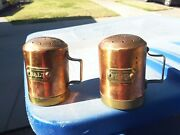 Vintage Brass Salt And Pepper Shaker W/ Handles And Rivited Labels Kitchen Cookware