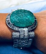 925 Sterling Silver Cz Bracelet Green Round Carved Stone Handmade High Jewelry