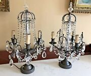 Antique Pair French Crown Crystal Girandoles Candelabras Lamp Beaded Chandelier
