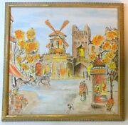 Mid Century Modern Moulin Rouge Painting Paris France Signed French Poodle Dog