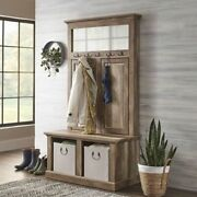 Better Homes And Gardens Crossmill Farmhouse Hall Tree Bench Weathered Finish