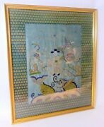 18th C. Chinese Embroidery Textile Framed Picture Sea Serpent Dragon Fish Silk