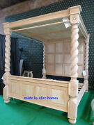 Uk King Size 5and039 Oak Raw Unpainted Natural Four Poster Canopy Jacobean Tudor Bed