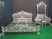 Silver Leaf French Rococo Dressing Table Only Carved From Mahogany Wood