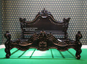 Uk King 5and039 Matt Black Gothic Designer Baroque Mahogany Carved Wooden French Bed
