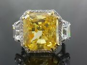 Halo Style Yellow Radiant White Trapezoid Cut 925 Sterling Silver Ring Cz-magnif