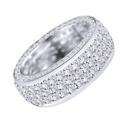 14k White Gold Mens Ladies Eternity Channel Natural Diamond Band Ring 3.15 Ct