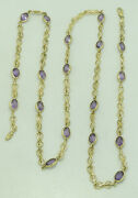 14k Yellowgold Oval 9mm Amethyst Figure 8 Link Necklace 29 Inch 7.2mm 27.1g M680