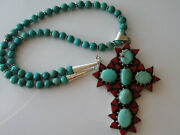 Vintage Sterling Silver Turquoise Cross Pendant On Turquoise Beads Necklace.