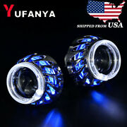 2.5and039and039 H1 Hid Bi Xenon Projector Lens Dual Led Angel Eyes Headlight Retrofit H4 H
