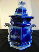 Antique Flow Blue Sugar Bowl Chapoo By Wedgewood Circa 1840's