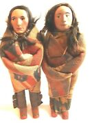 Pair Of Native American Indian Skookum Dolls Male And Female Circa 1918 11andnbsp
