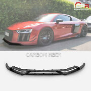 Crs Style Carbon Fiber Front Bumper Lip Add-on Kits For 15-18 Audi R8 Type 4s
