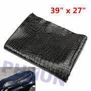 Black Pu Leather Moped Scooter Motorcycle Seat Cover Hide Alligator Skin Style
