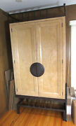 Armoire, Hand Rubbed Large Wood Cabinet, Iron Detailing, By Interior Designer