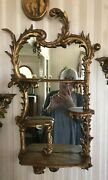 Antique French Giltwood And Gesso Hand Carved Shelves With Mirror, Rococo