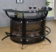 Modern Contemporary Game Room Curved Pub Bar Table Wine Storage Cabinet Black