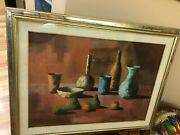 Vintage Natural Oil Picture In Wooden Frame 1960-1970 Italia 90/70cm 27/35 Inch