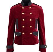 Andpound2680 Dolce And Gabbana Runway Red Velvet Military Jacket It48/m - Italy