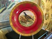 Antique Bavarian Porcelain Wall Plate Game Birds Hand Painted Red Gold
