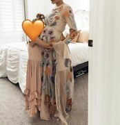 Asos Embroidered Maxi Dress Dobby Spot Not Maternity Size 4