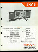Sony Tc-540 Reel To Reel Tape Deck Orig Factory Service Guide Manual