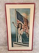 Antique Victorian Painting Entitled Our Flag Always In Front Wwi Era Frame