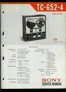 Sony Tc-652-2 Reel To Reel Tape Deck Orig Factory Service Guide Manual