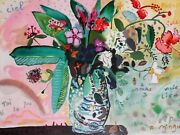 Alexandre Minguet Pencil Signed Serigraph Of Still Life Flowers In A Vase