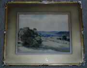 Fred Stead Signed Original Watercolor Painting Of Landscape