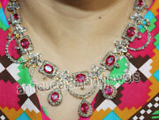 18.90ct Rose Cut Diamond Ruby Antique Victorian Look 925 Silver Necklace