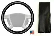 Black Genuine Leather Steering Wheel Cover 14 1/2 X 4 For Ford And Other Makes