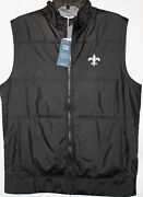 New Orleans Saints Stealth Full Zip Menand039s Vest Cutter And Buck Black Mcc00008