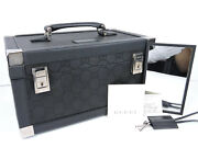 Authentic Black Leather Gg Canvas Make Up Cosmetic Bag Case Organizer