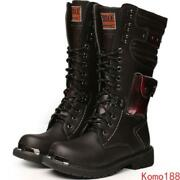Retro Mens Punk Military Combat Tactical Lace Up Motocycle Knee Boots Plus Size