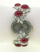 925 Sterling Silver Womenand039s Wrist Watch Flower Marquise Oval Cabochon Bracelet