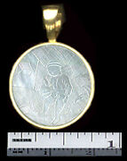 14k Small Round Heavy Bale Pendant 4 Antique Chinese Mother Engraved Gaming Chip