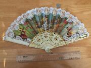 Vintage Signed European Victorian Style Lace Fabric Ladyand039s Hand Fan
