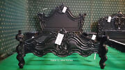 Usa Queen 60x80 Gothic Black Designer Baroque French Style Mahogany Bed