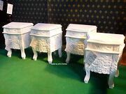 2 X White 100 Mahogany French Style Small Rococo Bedside Cabinets/nightstand
